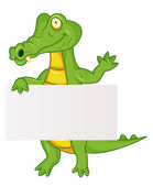 Crocodile with blank sign — Stock Vector