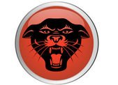 Black panther head button — Stock Vector