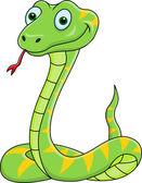 Funny green snake cartoon — Stock Vector