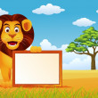Lion cartoon in the wildlife — Imagens vectoriais em stock
