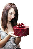 Red gift box with ribbon — Stock Photo