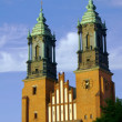 Towers of gothic cathedral church — Stock Photo