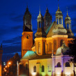 Towers of gothic cathedral church by night — Stock Photo