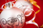 Silver Christmas baubles — Stock Photo