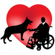 A dog and a disabled person in a wheelchair - Stock Vector