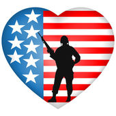 Silhouetted Soldier heart American Flag.Vector — Stock Vector