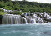 Panorama famous Hraunfossar — Stock Photo