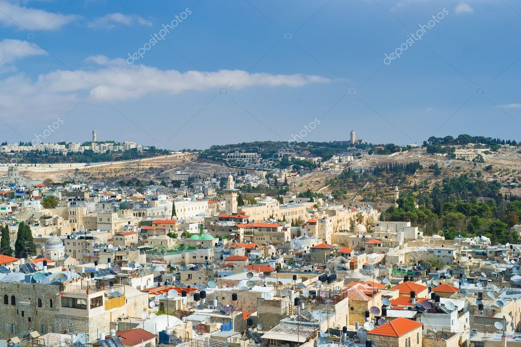 Aerial view on old Jerusalem city roofs  Stock Photo #7883947
