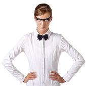 Modelo de vestido branco combi — Fotografia Stock