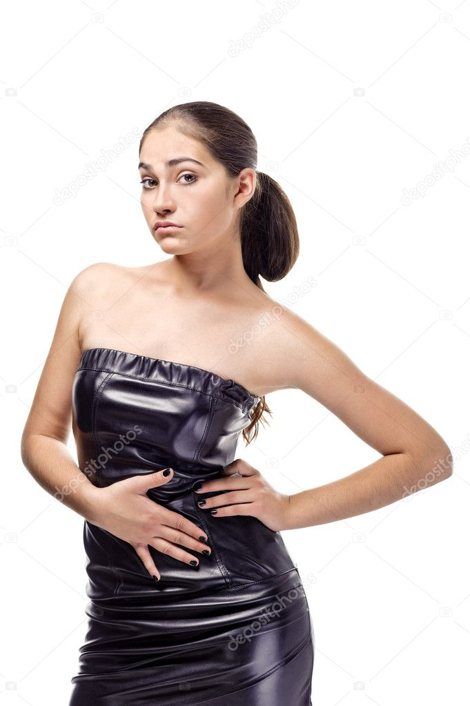 Attractive young woman isolated on a white background with hand on hip  Stock Photo #7490046