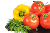 Vegetables - Tomatoes, peppers — Stock Photo