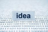 Idea text on binary data — Stock Photo