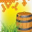 Barrel with honey — Stock Vector