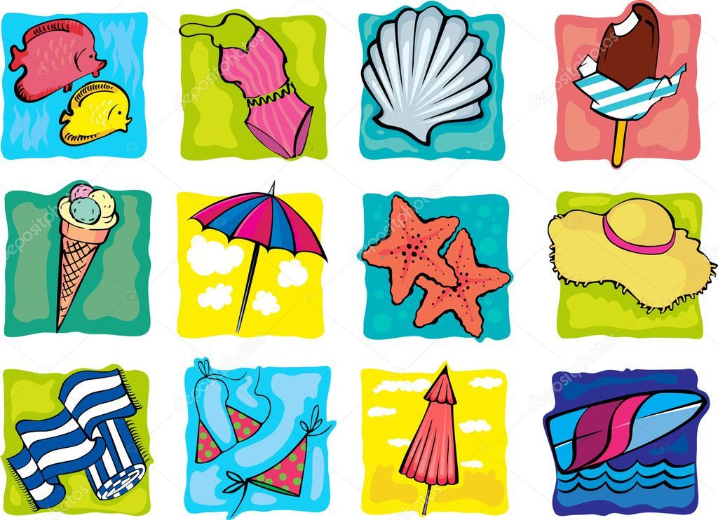 Collection of summer decorative icons — Stock Vector #7574529
