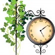 Street clock braided with ivy — Stock Vector