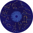Royalty-Free Stock Imagem Vetorial: Zodiac with constellations and zodiac signs