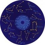 Zodiac con costellazioni e segni zodiacali — Vettoriale Stock