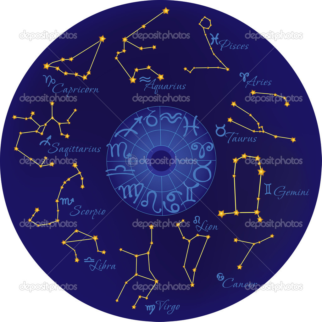 Zodiac with constellations and zodiac signs  Stock Vector #7913278