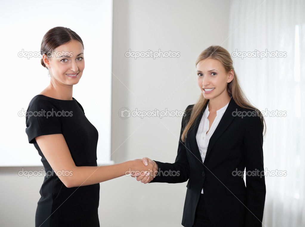 Portrait of successful business colleagues shaking hands with eachother. — Stock Photo #6930717