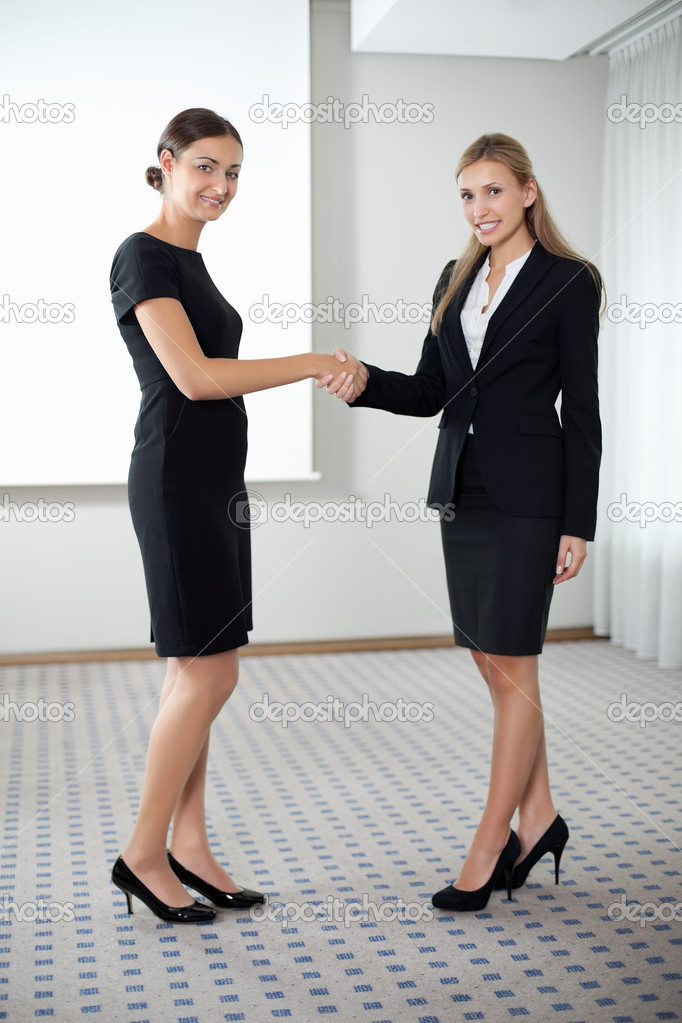 Full length portrait of business women shaking hands with eachother. — Stock Photo #6930748