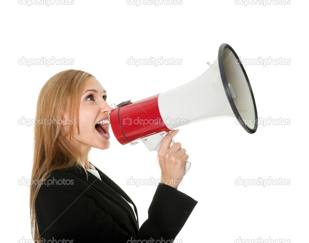 Man Yelling Trough A Megaphone Ii Stock Photo | Getty Images
