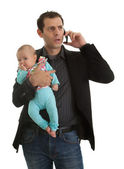 Businesman with his baby girl — Stock Photo