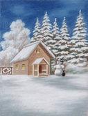 Haus im wald und schneemann — Stockfoto