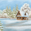 House in winter forest — Stock Photo #6940332