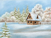 House in winter forest — Stock Photo
