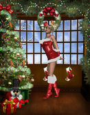 Sexy santa girl with christmas background — Stock Photo