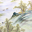 Asian traditional painting of landscape — Stock Photo