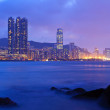 Stock Photo: Hong kong night scene on rocky coast
