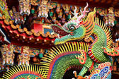 Traditional chinese dragon decoration on roof of temple — Stock Photo