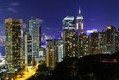 Hong Kong downtown at night — Stock Photo