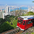 Stock Photo: Tourist tram at the Peak, Hong Kong