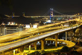Reeway and bridge at night — Stock Photo