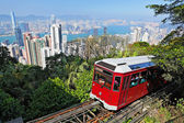 Tourist tram at the Peak, Hong Kong — Stock Photo