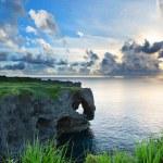 Sunset on the rocks , in Okinawa , Manzamo — Stock Photo