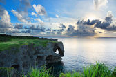 Sunset on the rocks , in Okinawa , Manzamo — Stock Photo