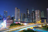 Megacity traffic and highway at night — Photo
