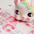 Piggy bank on china banknote — Stock Photo
