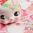 Stock Photo: Piggy bank on china banknote