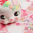 Piggy bank on china banknote — Stock Photo