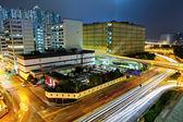 Megacity traffico e autostrada di notte — Foto Stock