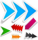 Toothy arrows sticker set. — Stock Vector