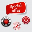 Red set of Special offer labels. — ストックベクタ