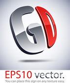 3D modern GD logo icon. — Stock Vector
