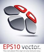 3D modern pentagonal logo icon. — Stock Vector