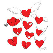 Cartoon heart shapes — Stock Vector