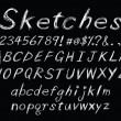 Vector de stock : Chalk sketch alphabet